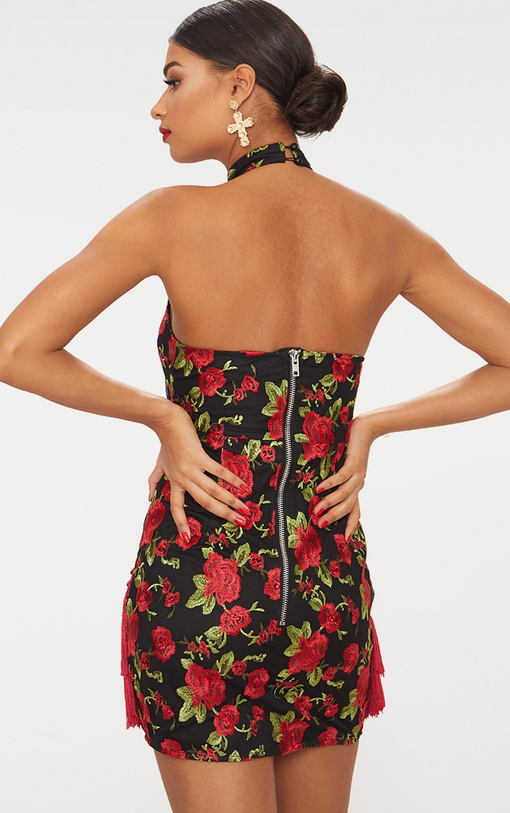 Black Floral Embroidered Tassel Trim Halterneck Bodycon Dress 3