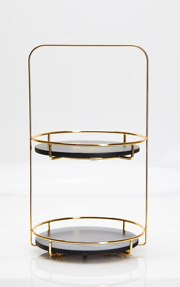 Black Marble Resin Tiered Stand 4