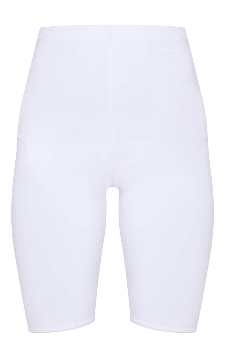 Petite White Slinky High Waist Bike Shorts 3