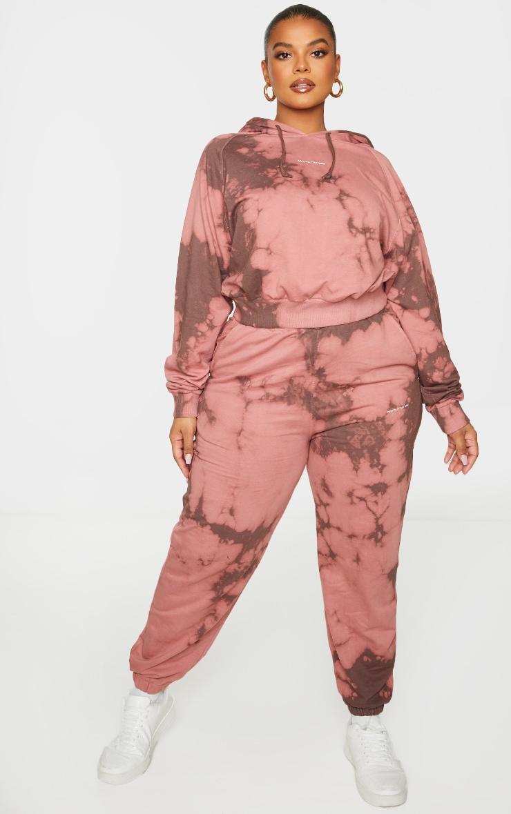 PRETTYLITTLETHING Plus Chocolate Brown Printed Tie Dye Crop Hoodie 3