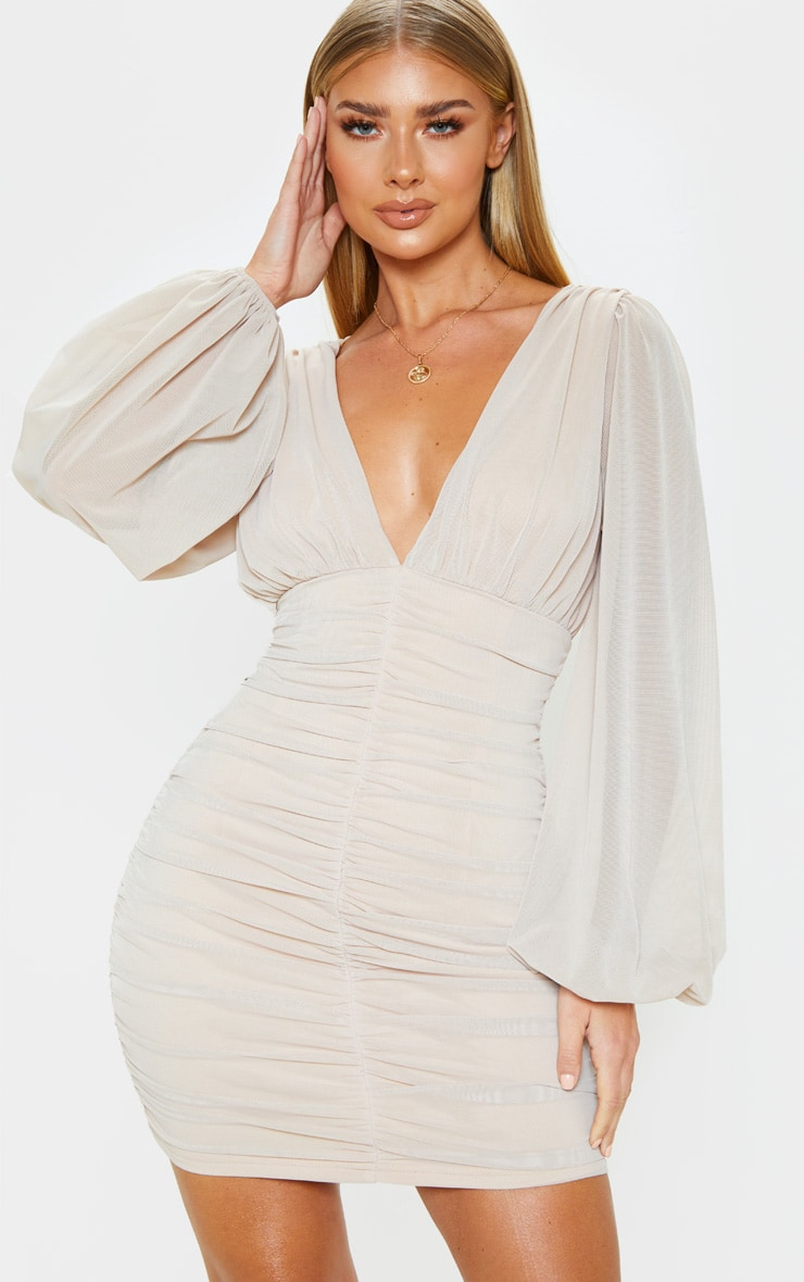 Stone Mesh Ruched Balloon Sleeve Bodycon Dress