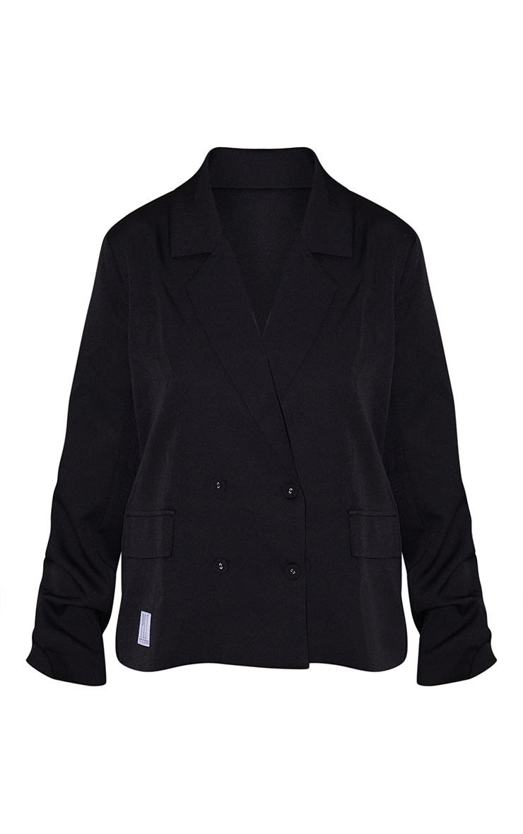 PRETTYLITTLETHING Plus Black Badge Detail Blazer 5