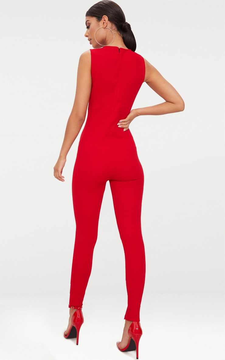 Red Lace Up Leg Jumpsuit 2