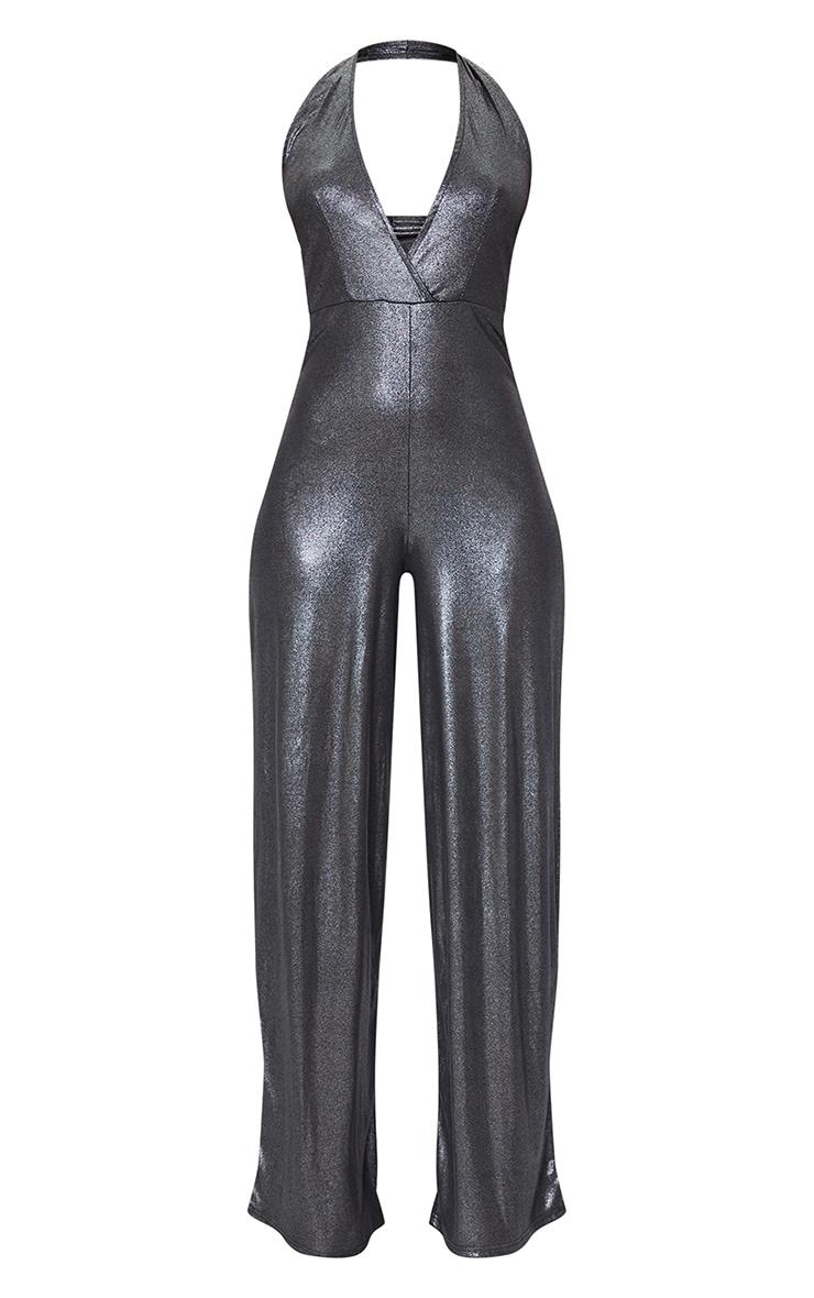 Silver Metallic Slinky Halterneck Wide Leg Jumpsuit 5
