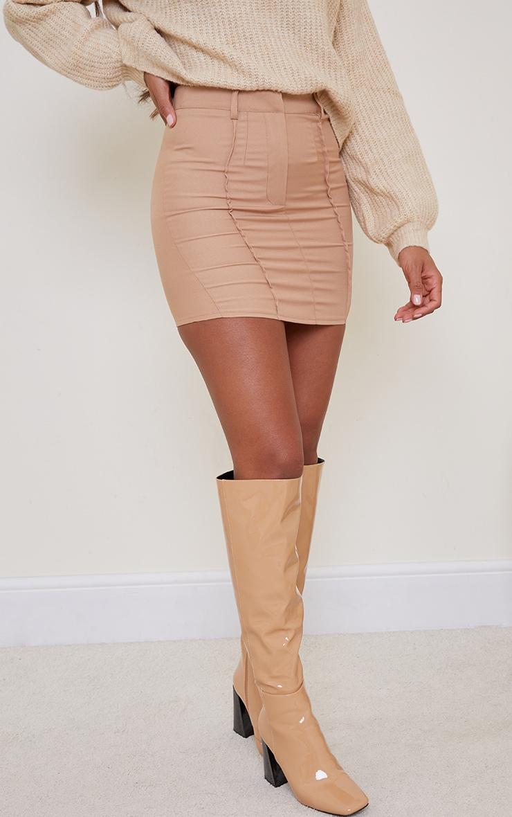 Camel Woven Seam Detail Mini Skirt 2