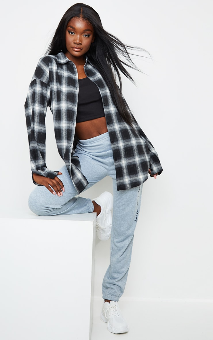 Tall Black Checked Oversized Shirt 3