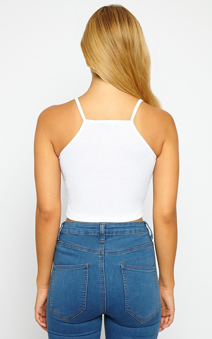 Basic White Ribbed Crop Top 2
