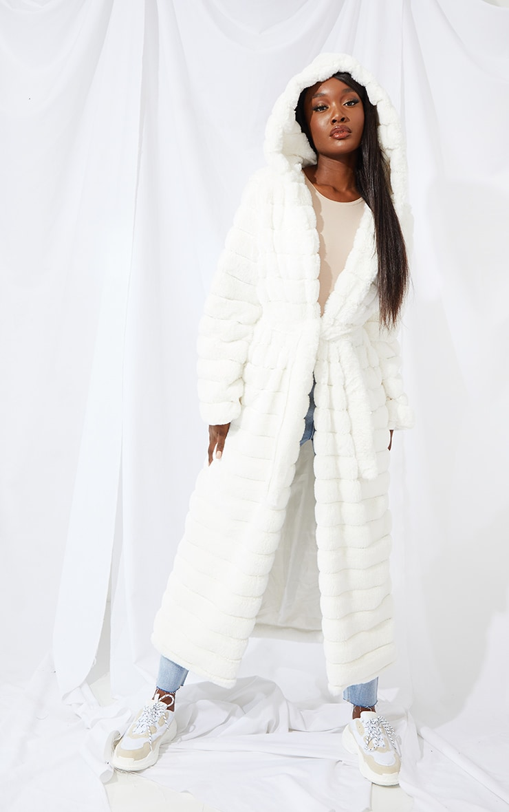Tall Cream Maxi Bubble Faux Fur Coat 1