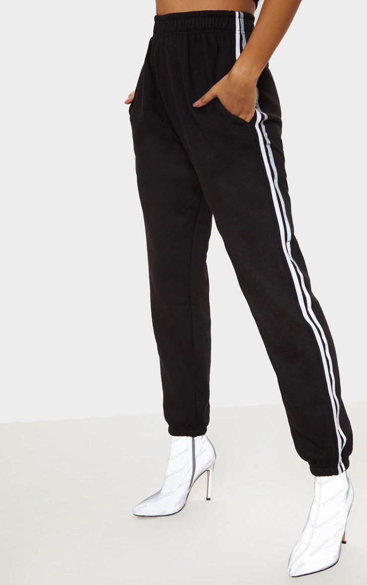 Black Reflective Side Stripe Cuffed Track Pants 2