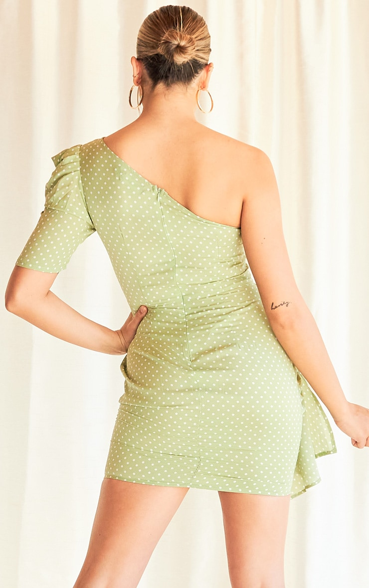 Sage Green Polka Dot One Shoulder Drape Detail Bodycon Dress 2