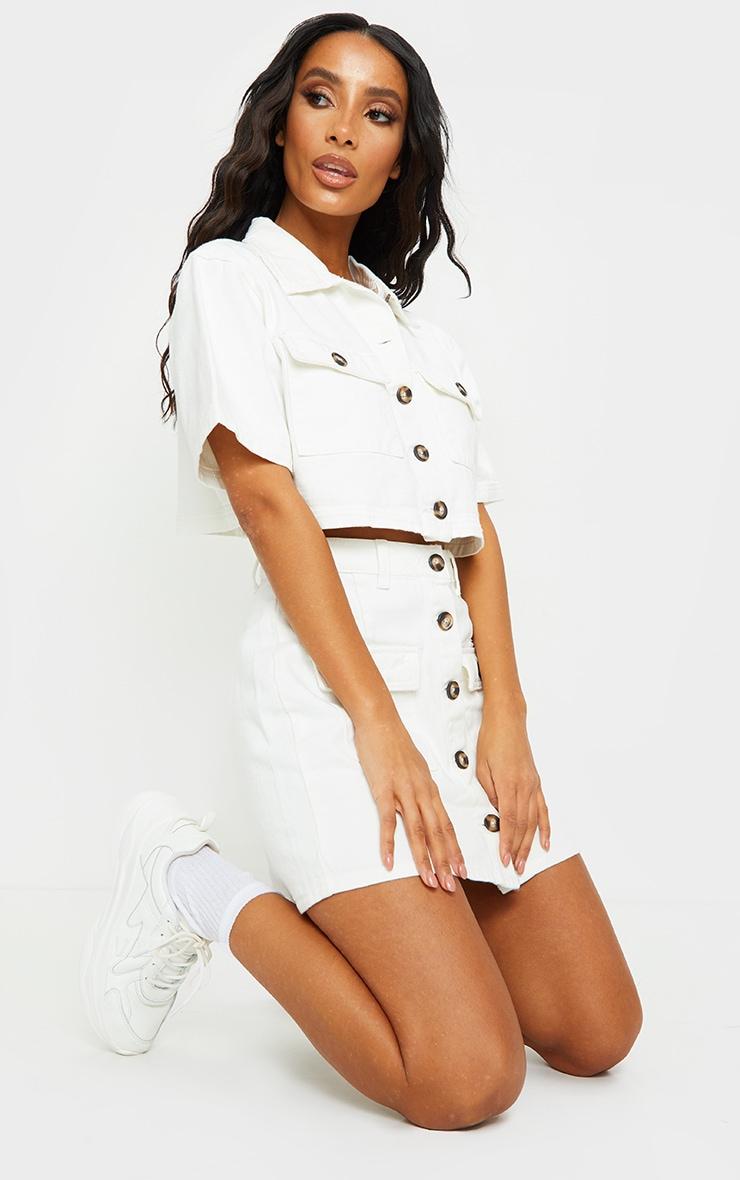 Chemise manches courtes en jean blanc à boutons et détail poches 3