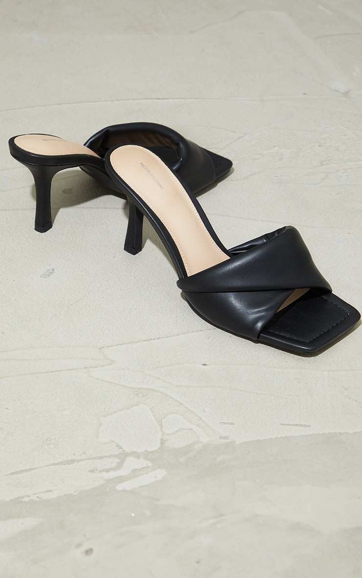 Black PU Quilted Cross Over Low Heeled Mules 1