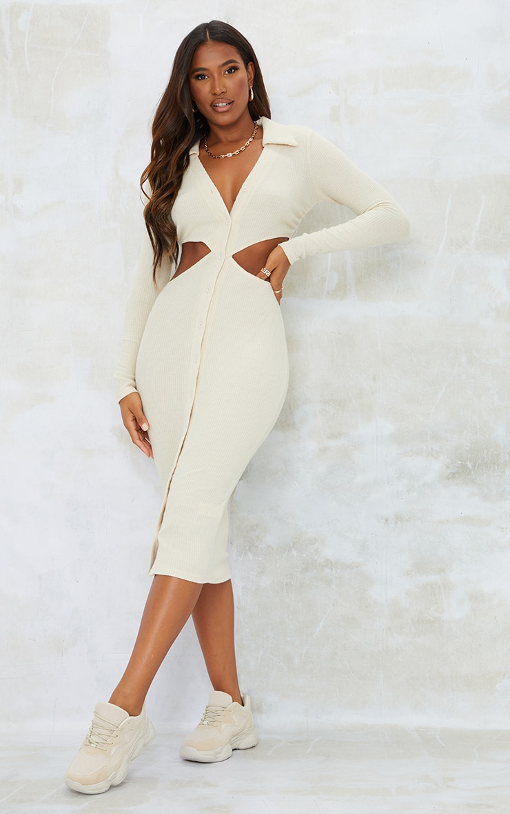 Stone Brushed Rib Cut Out Polo Collar Midaxi Dress 1