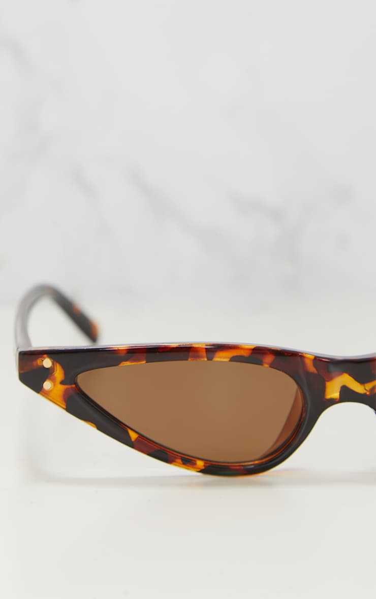 Tortoise Shell Slim Retro Sunglasses 3