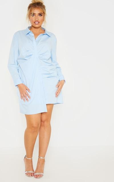 076ea8a5ab8 Plus Dusty Blue Pleat Detail Shirt Dress PrettyLittleThing Sticker