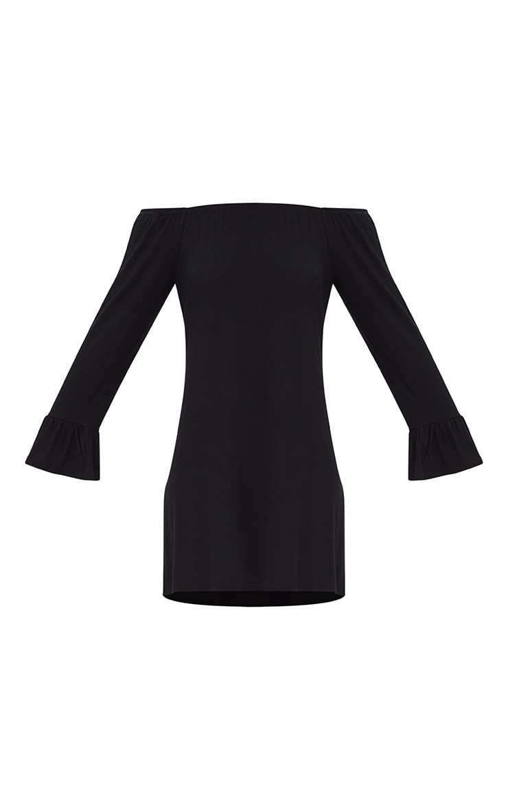 Black Jersey Bardot Long Sleeve Shift Dress 3