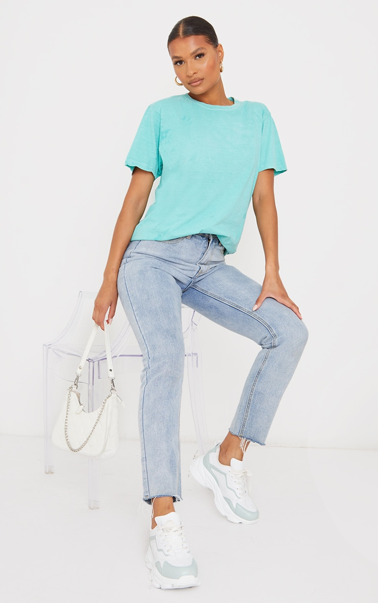 Bright Green Washed Oversized T Shirt 3