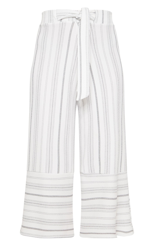 White Stripe Crepe Contrast Panel Culottes 3