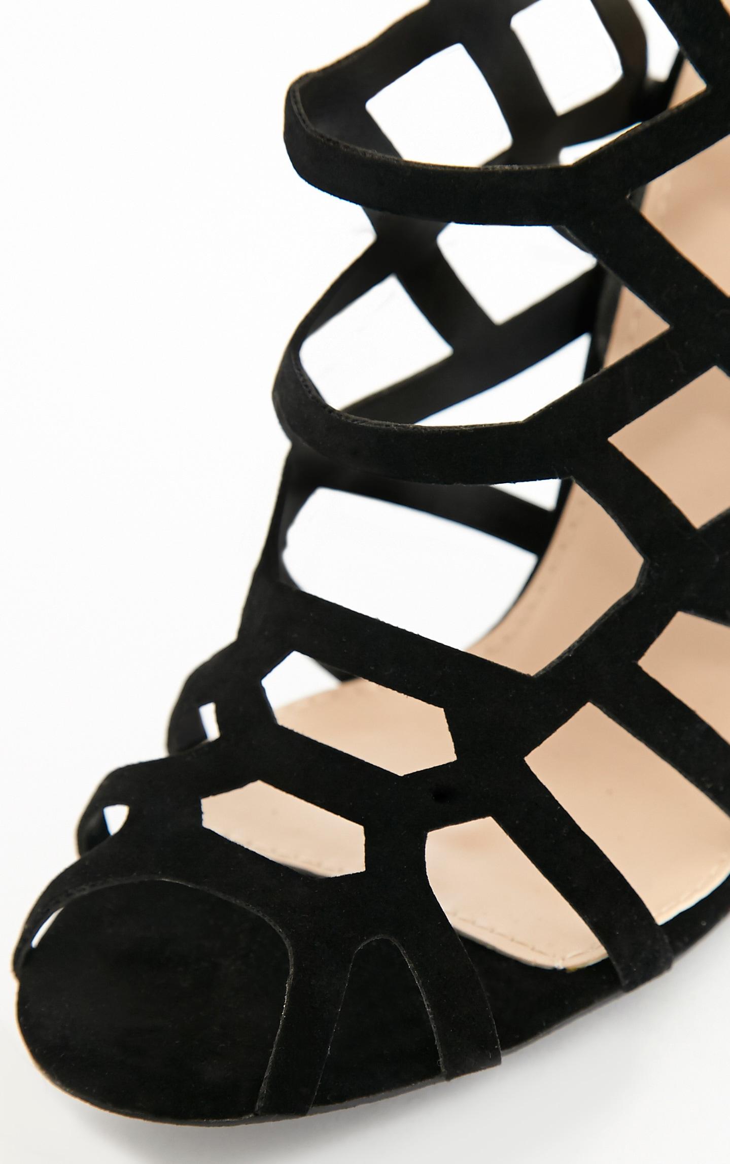 Haiti Black Suede Strappy Caged Heels 7