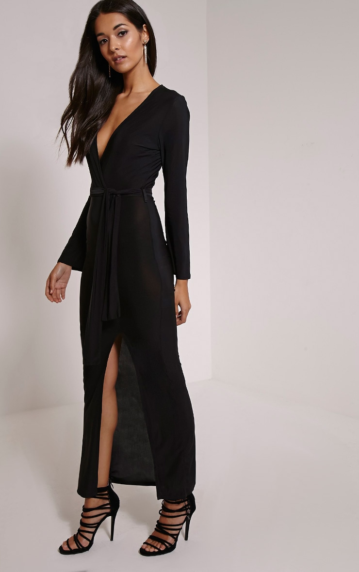 Jayna Black Wrap Front Tie Waist Maxi Dress 1