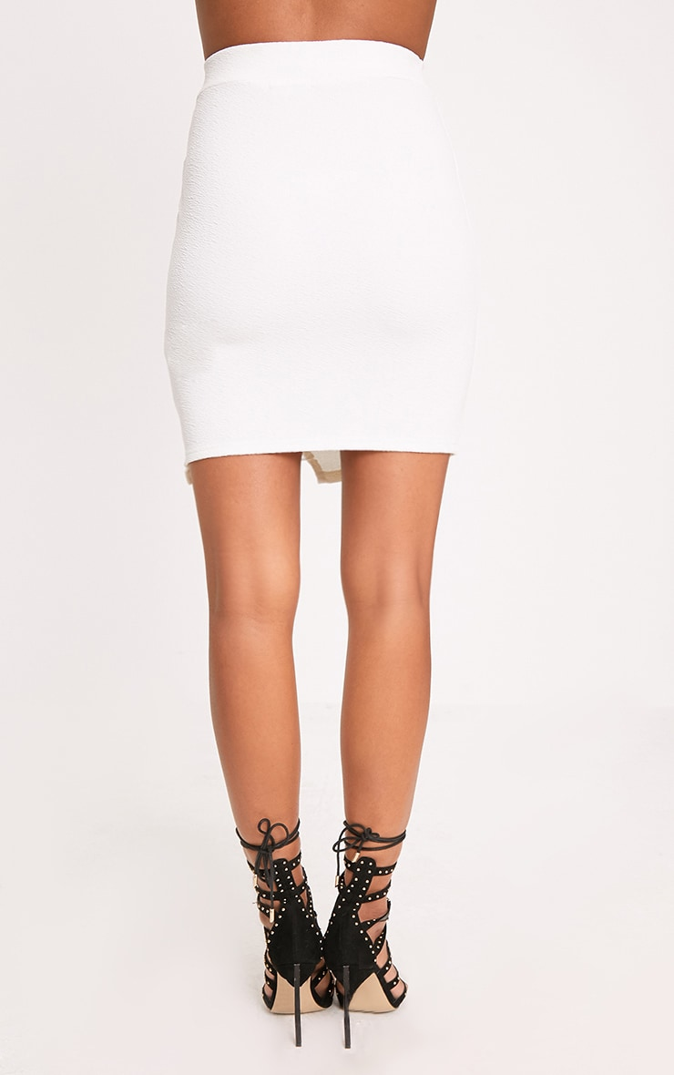 Ivory Lace Insert Split Mini Skirt 4