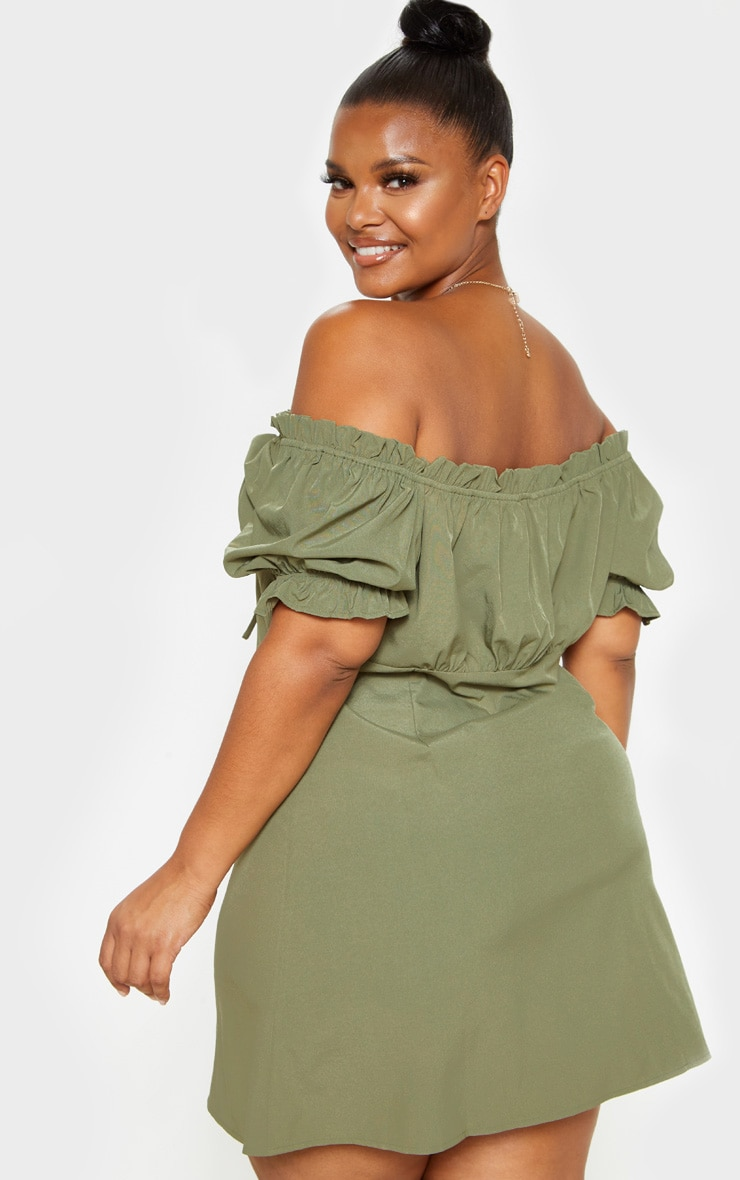 Plus Khaki Bardot Button Front Shift Dress  2