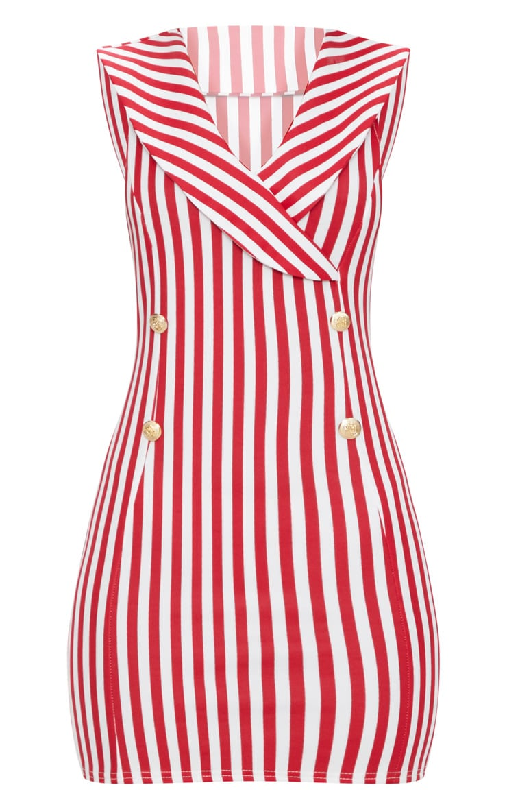 Red Striped Button Detail Waistcoat Dress 3