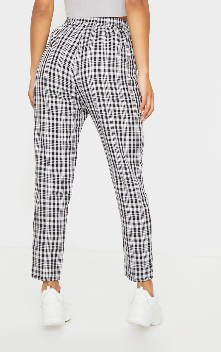 White Check Diya Casual Cigarette Trousers 3