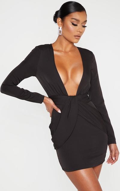 697cb264d95 Black Satin Tassel Tie Waist Bodycon Dress