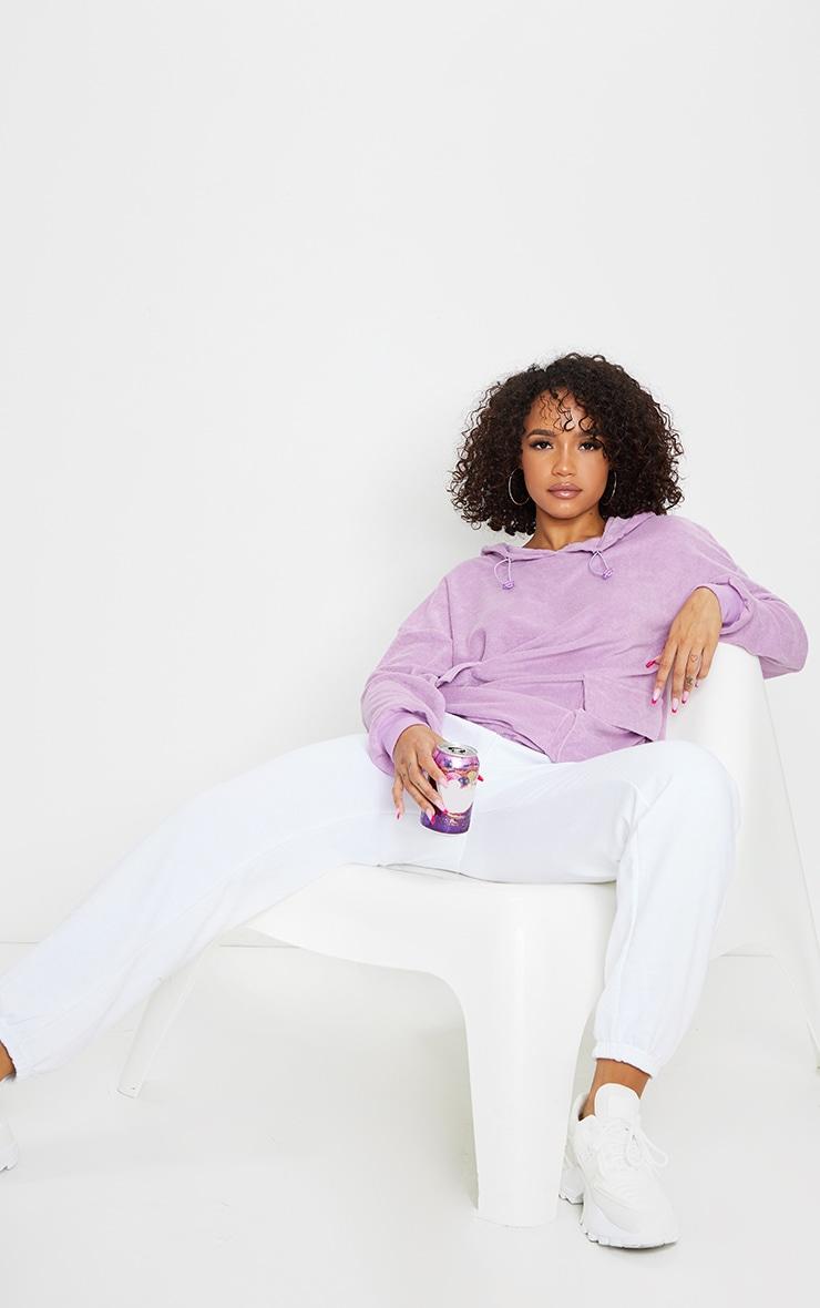 Lilac Towelling Oversized Pocket Sweatshirt 3