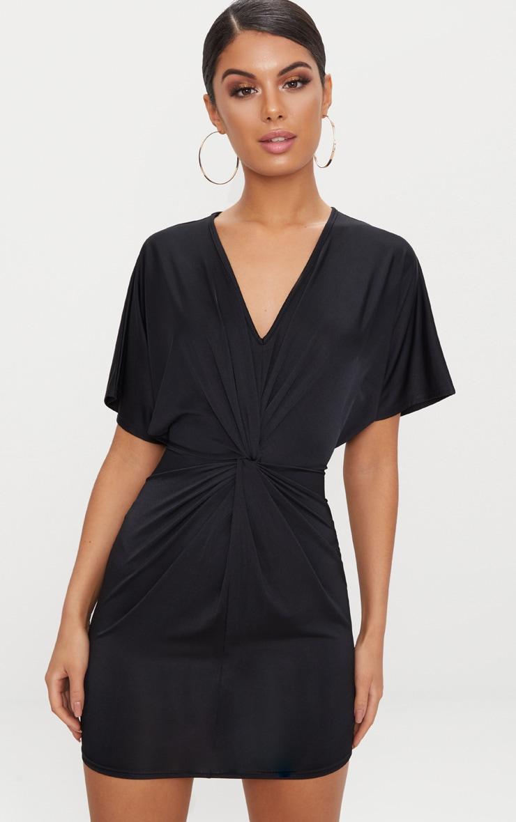 Black Batwing Knot Detail Bodycon Dress 1