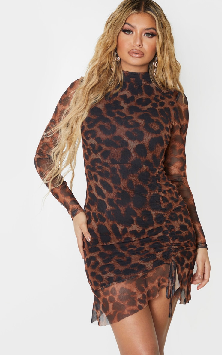 Brown Leopard Print Mesh Long Sleeve High Neck Ruched Bodycon Dress