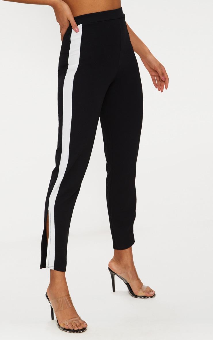 Black White Tape Contrast Side Tape Straight Leg Trouser 2
