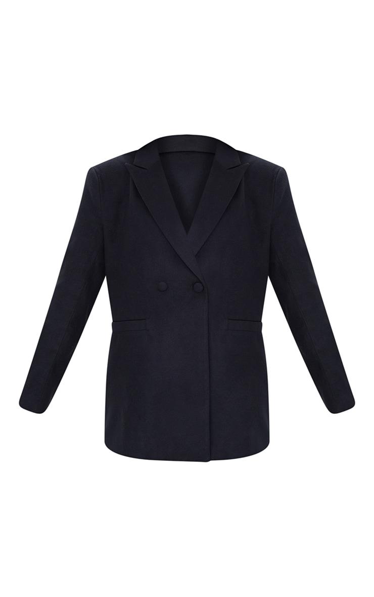 Black Wool Look Oversized Shoulder Padded Blazer 5