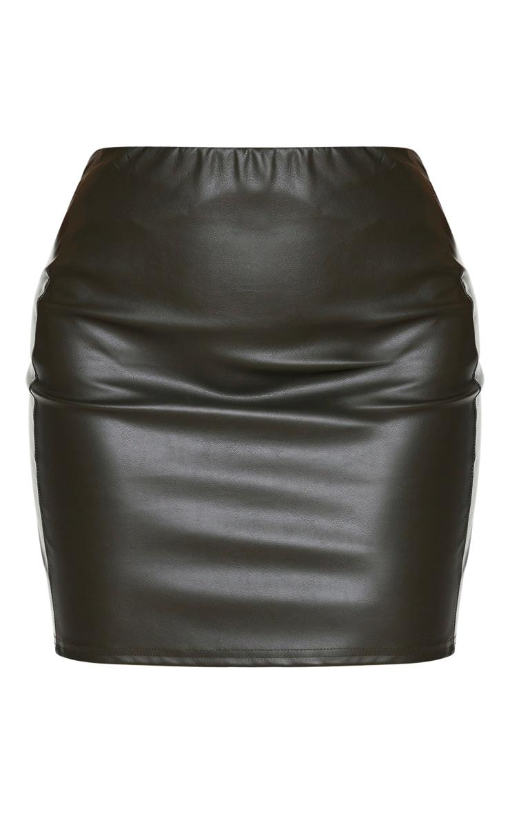 Tall Khaki PU Mini Skirt 3