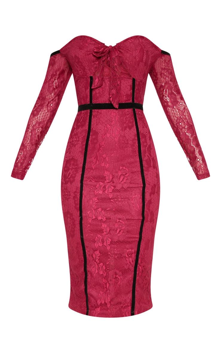 Burgundy Lace Bardot Velvet Piping Detail Midi Dress 3