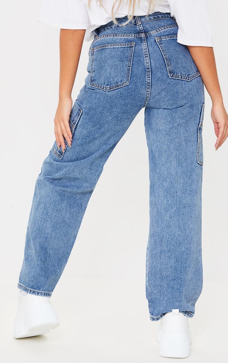Petite Mid Blue Wide Leg Distressed Cargo Jeans 3