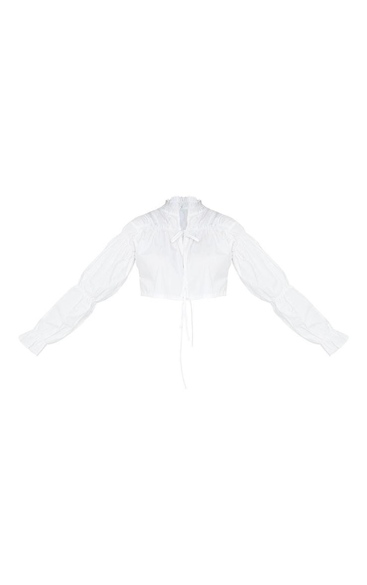 White Poplin Double Tie Front Crop Blouse 5