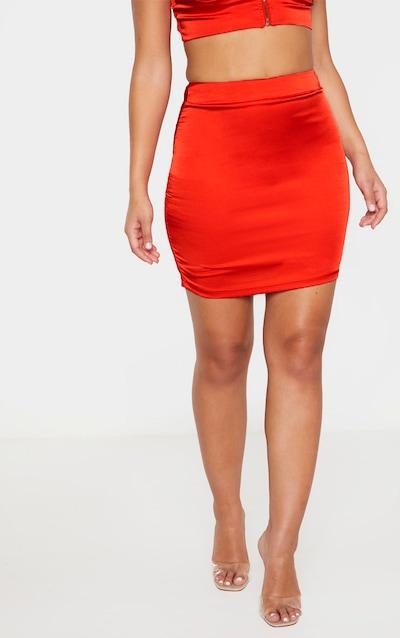 Red Satin Mini Skirt