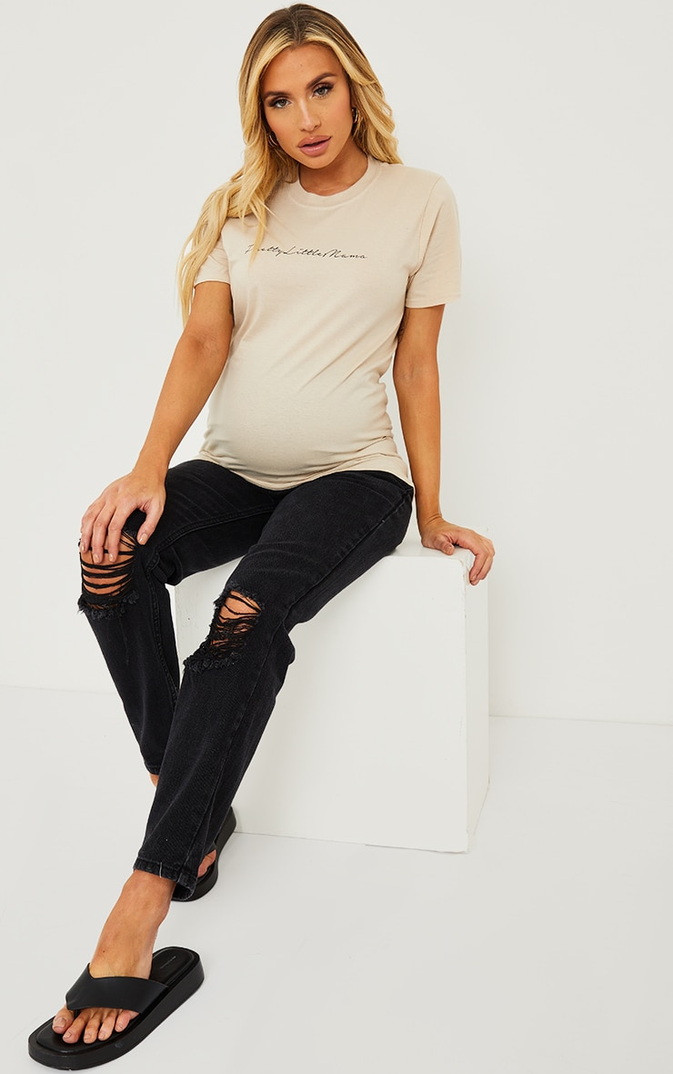 PRETTYLITTLETHING Maternity Stone T Shirt 3