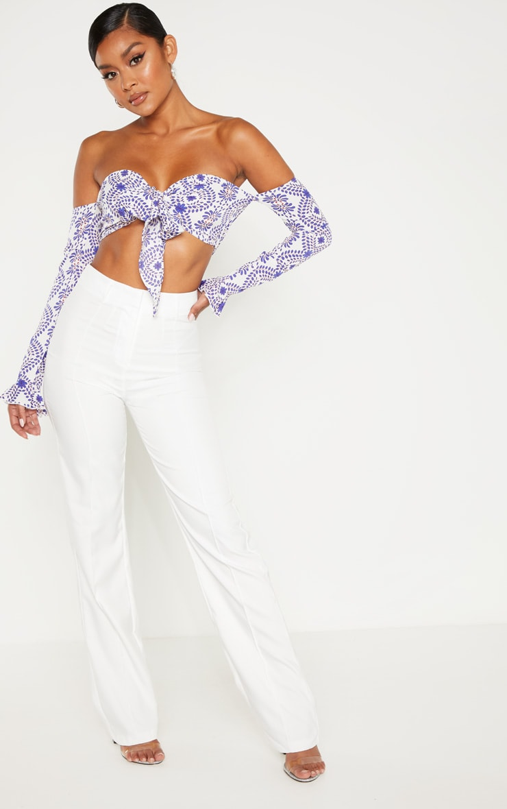 Blue Paisley Printed Bardot Tie Front Long Sleeve Crop Top 4