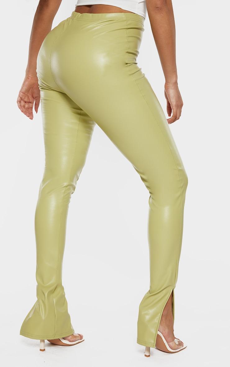 Shape Lime PU Split Hem Pants 3
