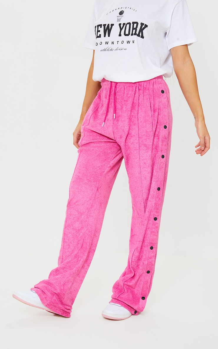 Hot Pink Towelling Popper Side Detail Joggers 2