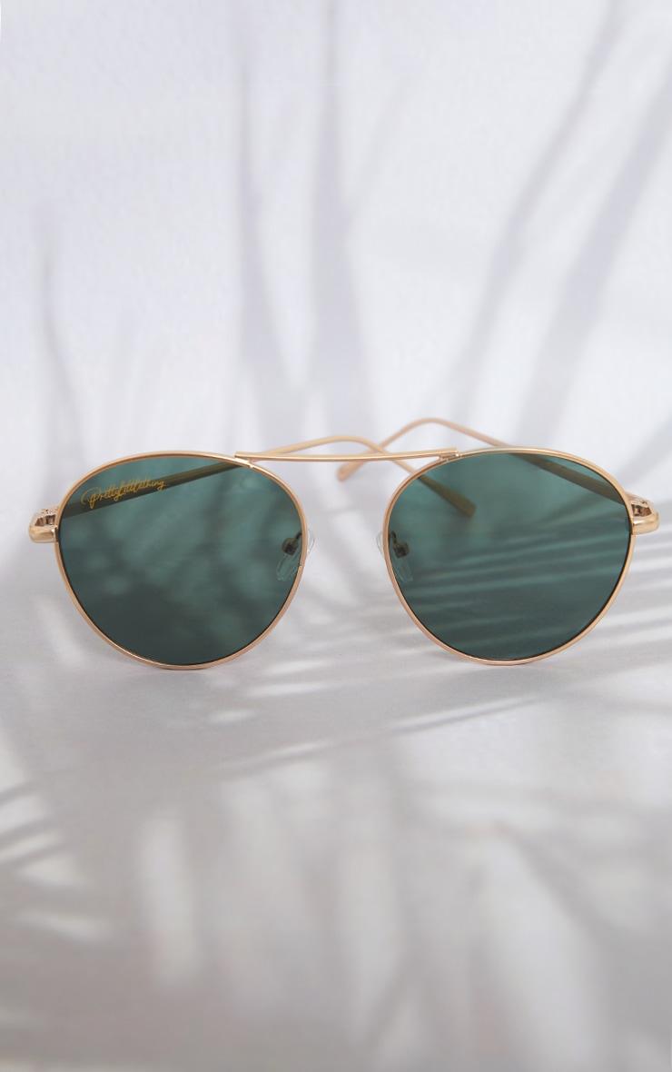PRETTYLITTLETHING Gold Bar Green Lens Aviator Sunglasses 2