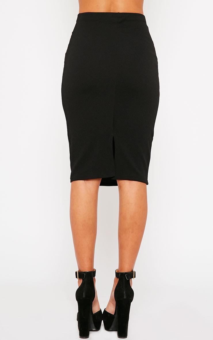 Tess Black Crepe Midi Skirt 4