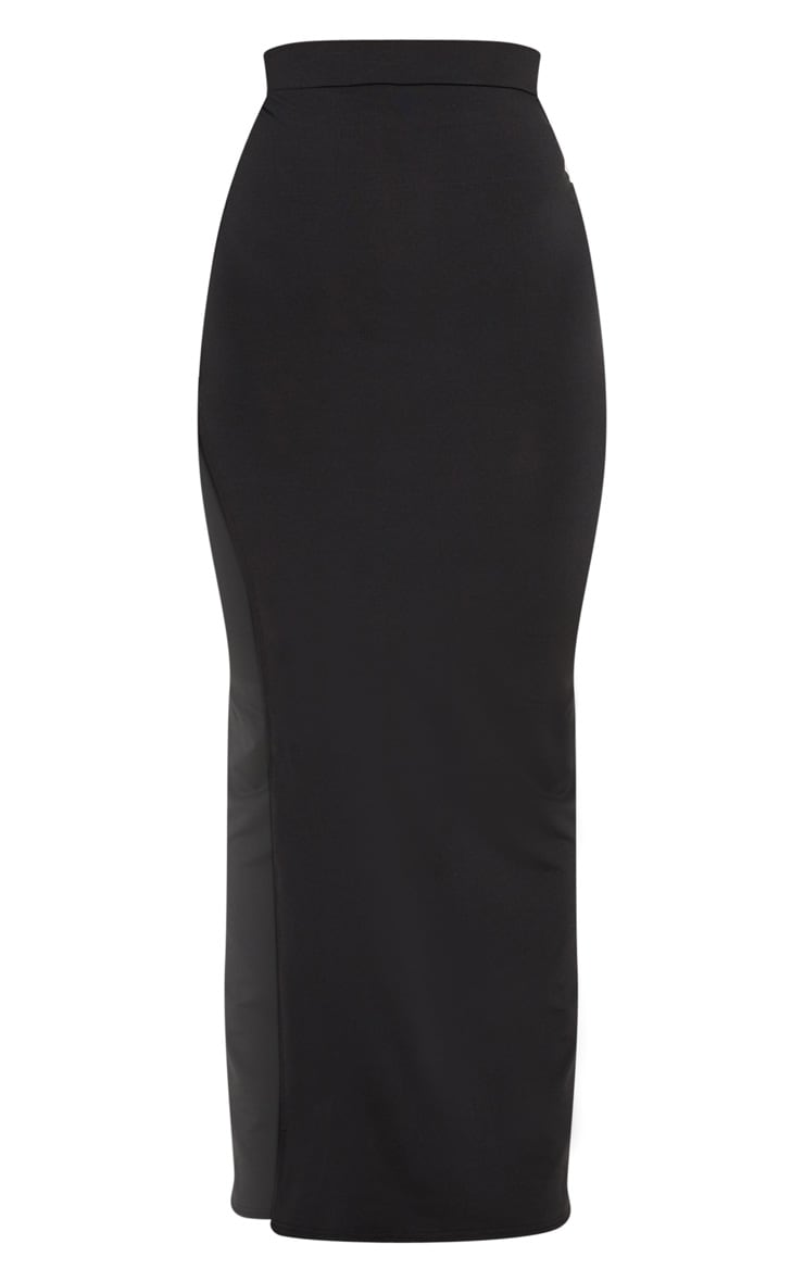 Black Slinky Side Split Maxi Skirt 3