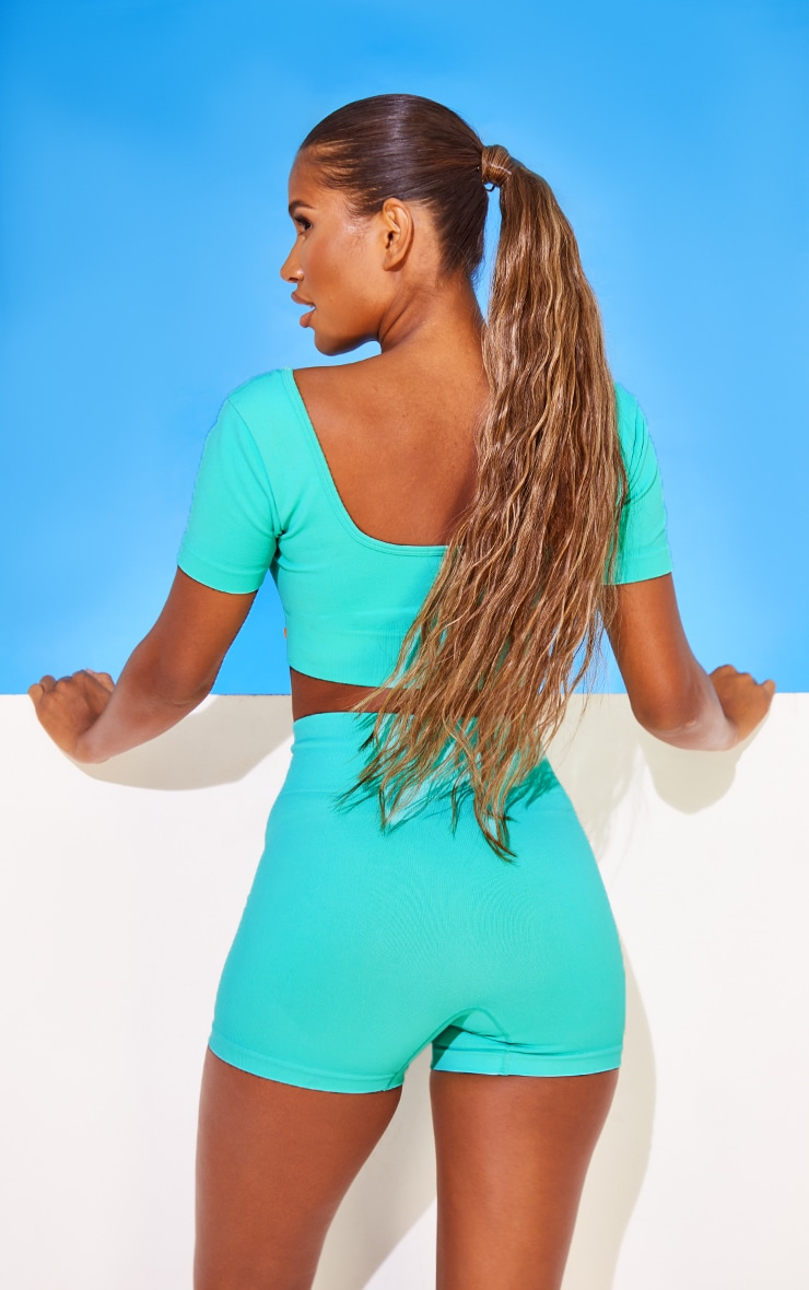 Turquoise Rubber Badge Basic Seamless Scoop Neck Cropped Gym T Shirt 2