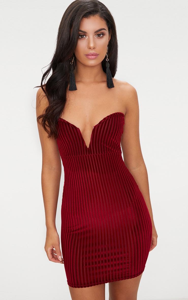 Burgundy Velvet Stripe Bandeau V Plunge Bodycon Dress 1