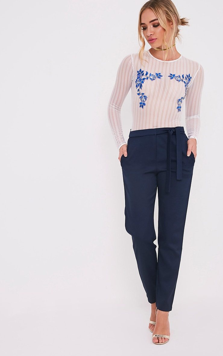 Avah Navy Tie Waist Cigarette Trousers 1