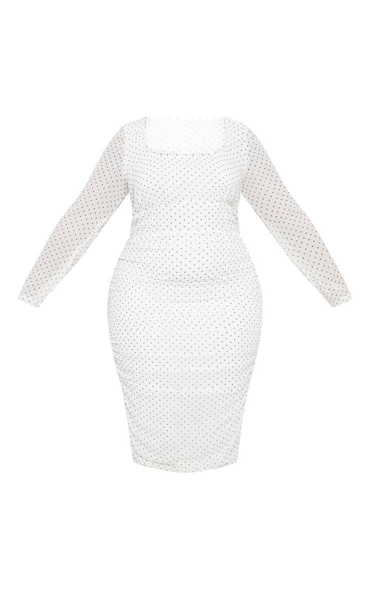 PLT Plus - Robe mi-longue blanche à pois à détail corset 3